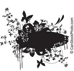 Grunge-Banner mit Blumenelement
