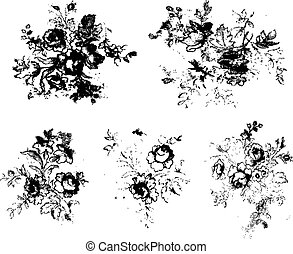 Grunge-Blumen-Clipart-Material