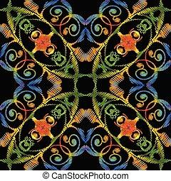 grunge, bunte, pattern., seamless, vektor, stickerei, blumen-, backg