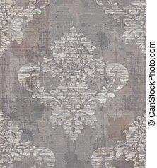 Grunge damask Muster Dekoration Vektor. Barocke Textur-Designs