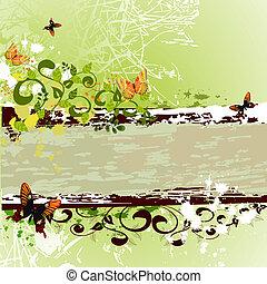 grunge, design, vlinders, banner