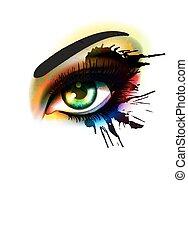 Grunge farbenfroh machen Augenmode und Schönheitskonzept.