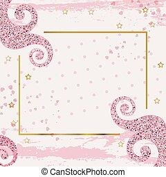 grunge, geschaeftswelt, quadratisches rosa, banner, hintergrund, valentines, curles., 8, wedding, modern, märz, mütter, day., tag