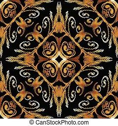 grunge, gold, bunte, pattern., seamless, vektor, stickerei, blumen-