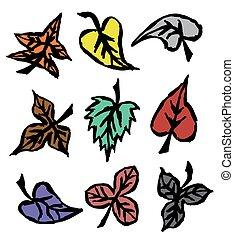 Grunge Herbst Blätter Hand gezeichnet