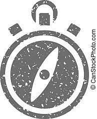 grunge, ikone, -, kompaß