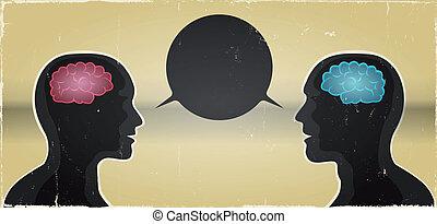 Grunge Mann und Frau Kommunikation Hintergrund.