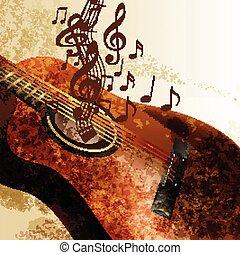 Grunge Musik Hintergrund mit Gitarre.