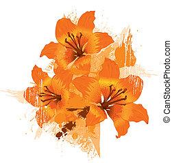 grunge, orange hintergrund, blumen-, lilie, vektor, drei