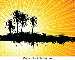 Grunge Palmen im Hintergrund
