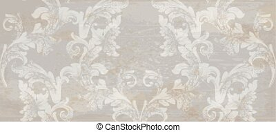 Grunge Papier Damask Muster Dekoration Vektor. Barocke Textur-Designs