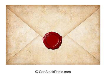 Grunge Postumschlag oder Brief mit Wachssiegel auf weißem