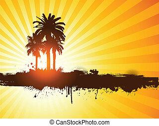 Grunge Sommer Palmen-Hintergrund