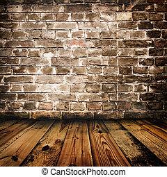 Grunge Ziegelmauer und Holzboden