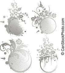 Grunges Blumenrahmen