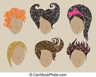 Grunges Haar stylingt nach Frau.