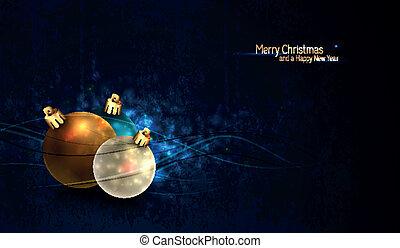 Grungy Christmas Background mit bunten Globen