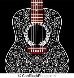 Grungy Hintergrund mit schwarzer akustischer Gitarre.