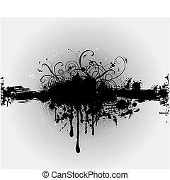 Grungy Platt oder Tintenspritzer. Vector