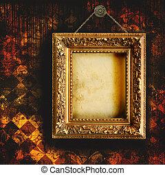 Grungy zertrümmerte Tapete mit leerem Bildrahmen
