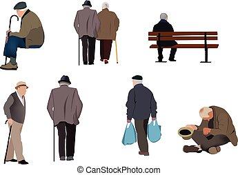 Gruppe alter Leute in verschiedenen Positionen.