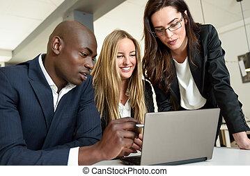 gruppe, büro., modern, businesspeople, drei, multi-ethnisch, versammlung