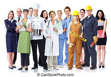 Gruppe der Industriearbeiter.