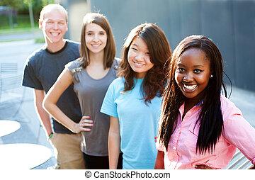 gruppe, multi-ethnisch, teenager