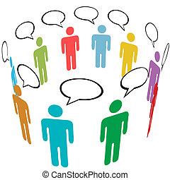 gruppe, vernetzung, leute, medien, symbol, farben, sozial, talk