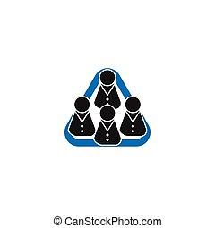 Gruppe von Personen in Dreiecksform Vektor.