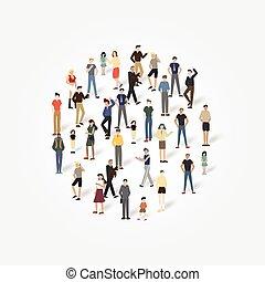 Gruppe von Personen mit Copyspace.Vector Illustration