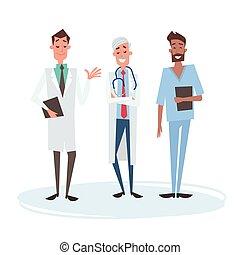 Gruppen-Media-Ärzte Männer-Team Kliniken.