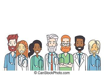 Gruppen-Medizinärzte arbeiten dünne Linie.