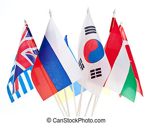 Gruppen verschiedener Flaggen der Welt.
