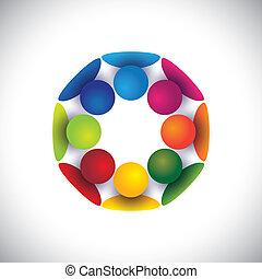 Gruppen von Kindern, die im Kreis oder in der Gemeinschaft Vektor spielen