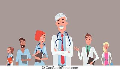 Gruppenmediziner-Team Kliniken.