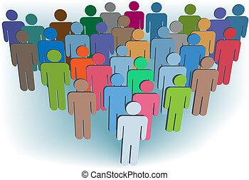 Gruppenunternehmen oder Bevölkerungsgruppen symbolisieren Hautfarben
