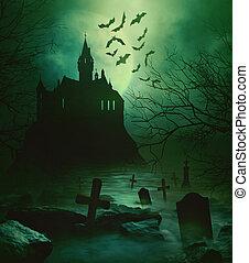 Gruselige Burg mit unheimlichem Friedhof unten.