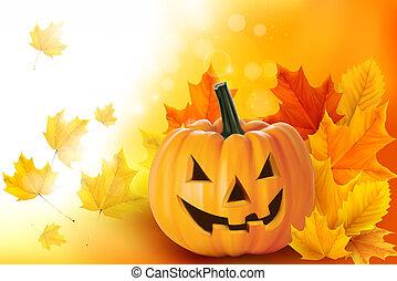 Gruseliger Halloween-Kürbis mit Laubvektor