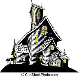 Gruseliges Spukhaus-Illustration