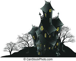 Gruseliges Spukhaus und Bäume Illus