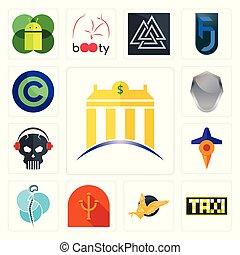 gryphon, schutzschirm, satz, banque, totenschädel, heiligenbilder, psi, neurochirurgie, frei, reise, kopfhörer, copyright, taksi