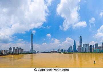 guangzhou, stadt skyline, porzellan