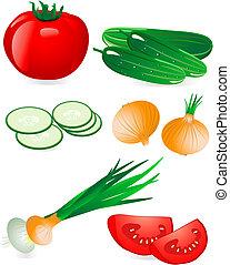 Gurke und Tomatenzwiebel