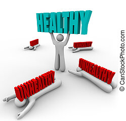 guten, ungesund, gesunde, person, vs, gesundheit, fitness