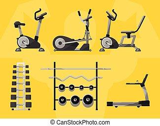 Gym isolierte Ausrüstung, Vektor-Ikone.