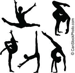 Gymnastik-Mädchen-Silhouette