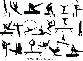Gymnastik-Silhouettes
