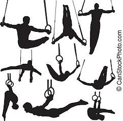 Gymnastikringe speichern Silhouettes