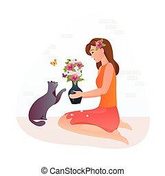 hält, hands., riechen, m�dchen, sie, blumenvase, katz, blumen, flowers.
